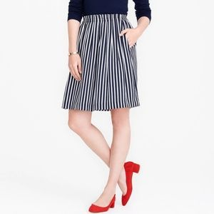 jcrew womens 16 striped pleated midi skirt navy wh